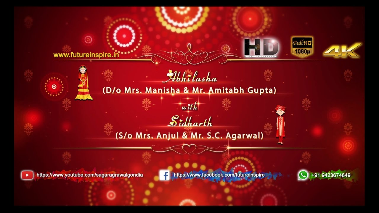 Abhilasha weds sidharth traditional hindu whatsapp for Wedding invitation free online for whatsapp
