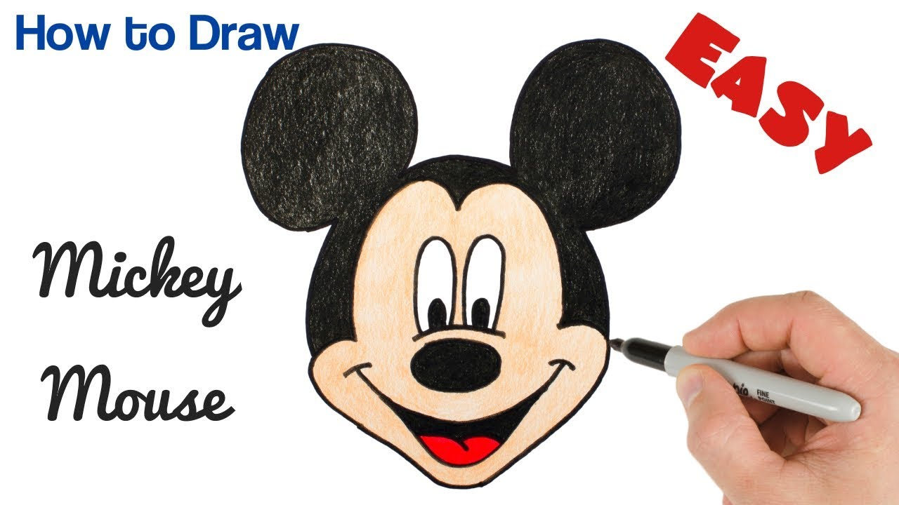 How To Draw Mickey Mouse Easy Cartoon Drawing For Beginners Step By Step Youtube