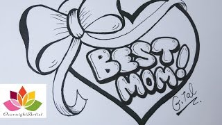 Draw Best Mom On  A Heart, Puffy Ribbon Bow & Dancing Sashes!