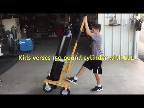 Lifting and handling high pressure gas cylinders with the Ergonomic Cylinder Lift (ECL) by kids!