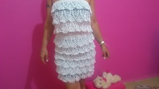 White Raffle Crochet Dress