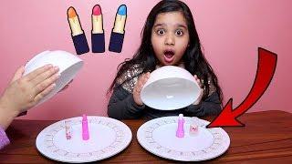 تحدي الاكل الحقيقي ضد المكياج !! candy vs make up challenge