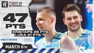 Luka Doncic & Kristaps Porzingis 47 Points Combined Highlights vs Grizzlies | March 6, 2020