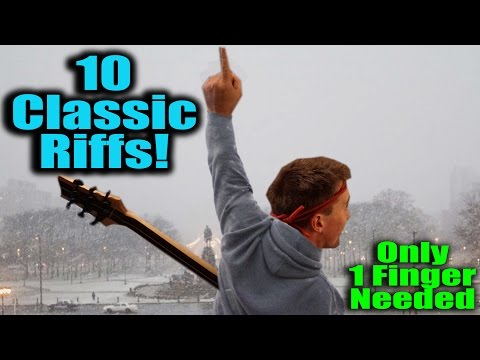 10 Classic Riffs! Only One Finger Needed! Beatles, Linkin Park, Neil Young, Led Zeppelin, Aerosmith