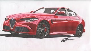 Realistic Car Drawing - Alfa Romeo Giulia Quadrifoglio - Time Lapse