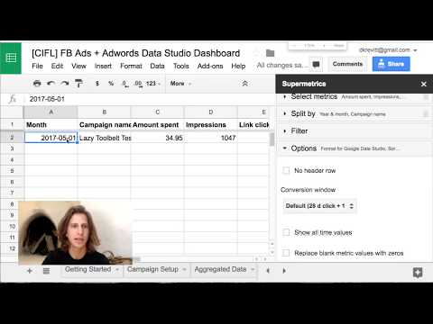 Data Studio Dashboard: Facebook Ads + Adwords (via Supermetrics)