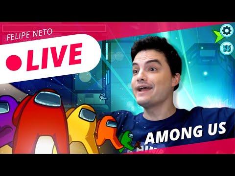 Felipe Neto Jogando Roblox Live Felipe Neto Joga Among Us Youtube