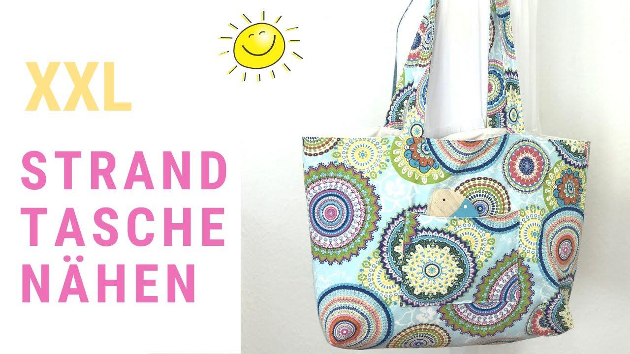 Strandtasche XXL nähen ohne Schnittmuster mit aufgesetzten Taschen - einfache Nähanleitung