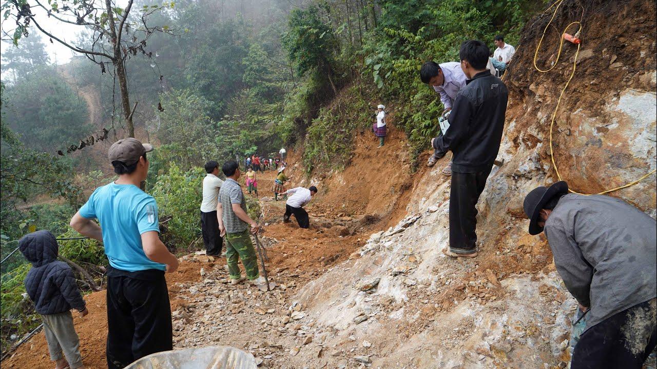 Khí thế hừng hực phá tan đá núi đón chờ vật liệu | Cầu qua vách đá Tà Chơ (T 7 )
