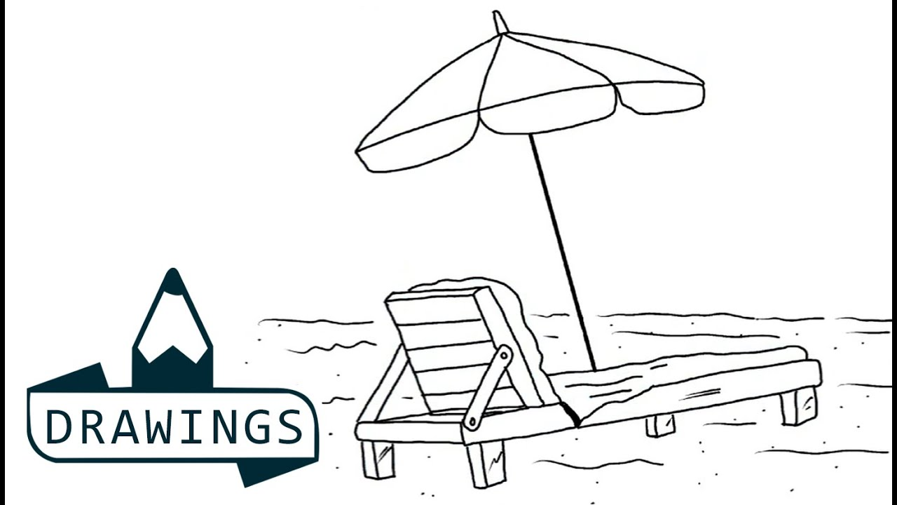 Beach lounge chair drawing - Speed Drawing How To Draw A Beach