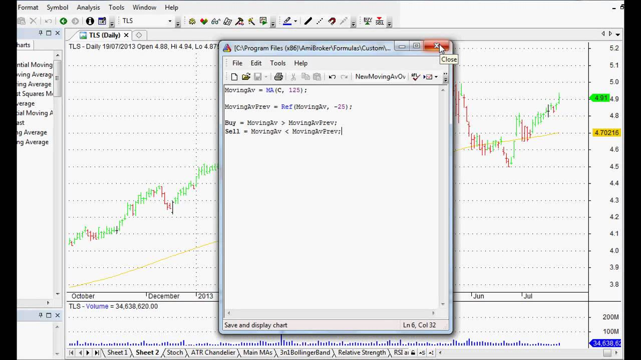30%+ Trading System: Using Amibroker to Refer to Previous Signals For This  MA Trading System