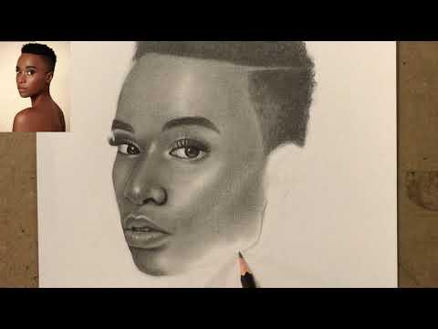 วาดภาพเหมือนจริง Zozibini Tunzi นางงามจักรวาลปี 2019ชาวแอฟริกาใต้วาดด้วยดินสอกราไฟท์Graphite Pencils