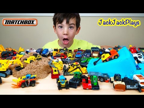 Playing with Huge Matchbox Toy Truck Collection + Digging in Kinetic Sand