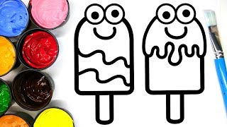 Painting Cute Popsicle and Beach Ball Painting Pages, Learn Painting and to Color for Baby