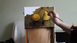 Первые шаги в живописи. Груши. Этюд.