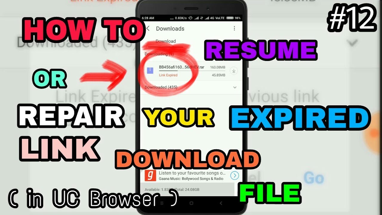 how to resume or repair the expired link download file on