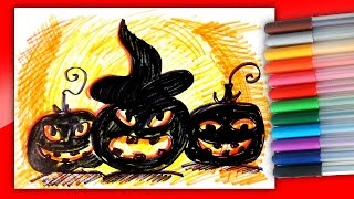 Страшные Тыквы Монстры на Хэллоуин фломастерами Рисунки на Хэллоуин