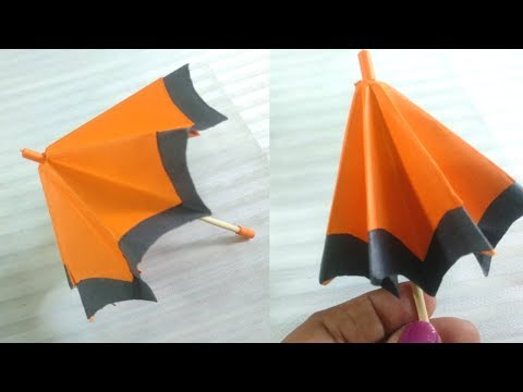 Miniature Doll Umbrella which can open and closed | paper umbrella | easy to make