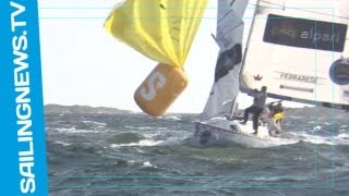 Amazing broach: A boat hooks a racing mark with the spinnaker sheet