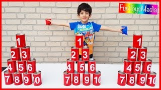 Fun Kids Play Activity Throwing Tin Cans Challenge