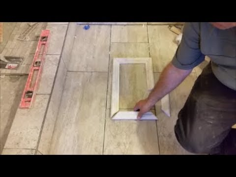 How To Create A Shower Niche Frame   Using Travertine Chair Rail Tile