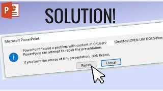how to solve: PowerPoint found a problem with content in pptx.- Video Tutorial