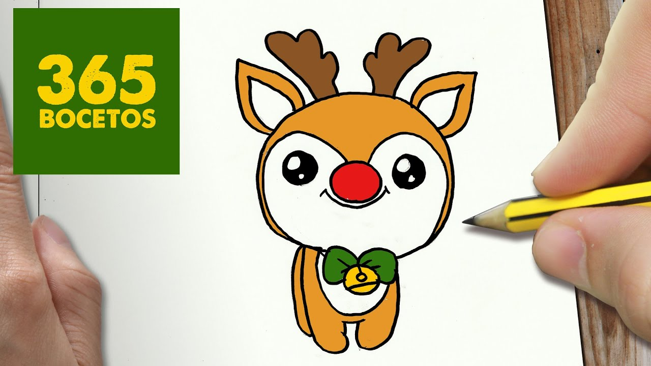 Como dibujar un rudolf para navidad paso a paso dibujos for Dibujos de renos en navidad