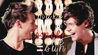louis+harry | you make me smile like the sun