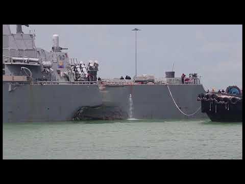 USS John McCain arriving at Changi Naval Base