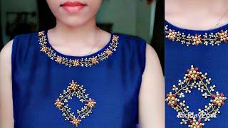 ഭംഗിയുള്ള ഈ design ആർക്കും എളുപ്പത്തില് ചെയ്യാം|Hand embroidery neck design|Normal needle