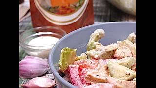 Рецепт куриного салата с авокадо | Куриный салат с сырным соусом