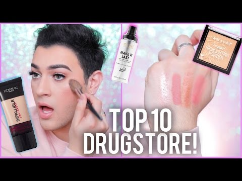 THE TOP 10 MAKEUP PRODUCTS AT THE DRUGSTORE! | Manny MUA