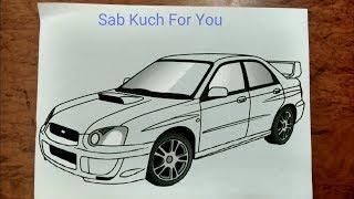 #15 How to Draw Sports Car  Subaru Impreza WRX STI  Step by step easily 😊