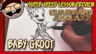 Lesson Preview: How to Draw BABY GROOT (Guardians of the Galaxy) | Super Speed Time Lapse