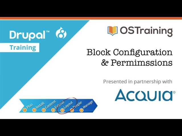 Drupal 8 Beginner, Lesson 49: Block Configuration and Permissions