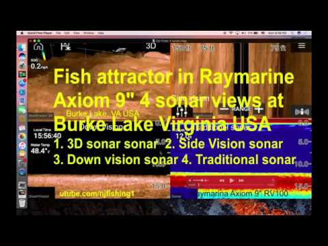underwater fish attractor in 3D, side vision, down vision and traditional sonars Raymarine Axiom
