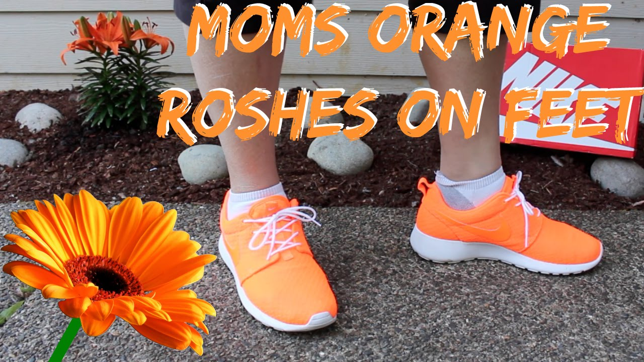 new product ebd58 9ee02 Bright Orange Womens Nike Roshe Run On Feet Detailed Look HD