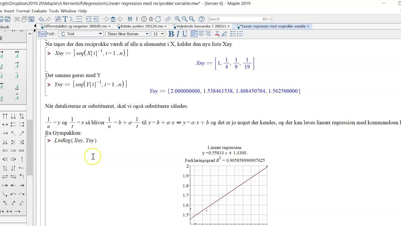 Lineær regression reciprok