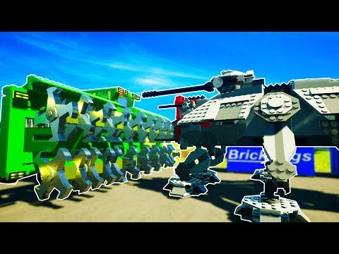 GIANT MULCHER DESTROYS LIFE SIZED STAR WARS AT-TE! - Brick Rigs Workshop Creations Gameplay
