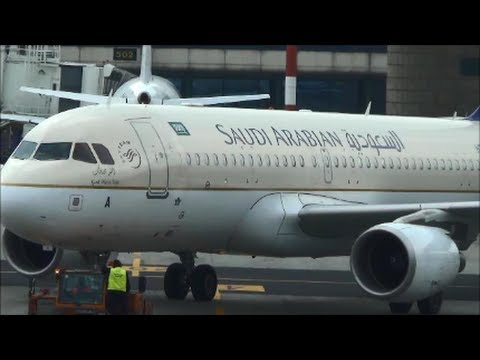 Airbus A320 Saudia Airlines. Flight SV210  to Riyadh. Pushback and Taxi at Milan Malpensa SV 00210