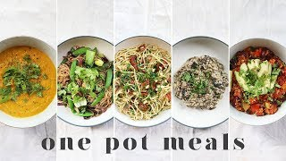 ONE POT VEGAN MEALS | 5 Fast & Lazy Beginner Recipes (with less washing up!)