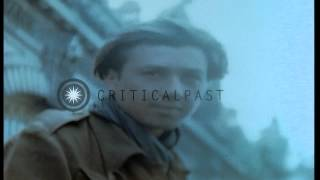 Cheering women welcome liberated French prisoners in Paris. HD Stock Footage