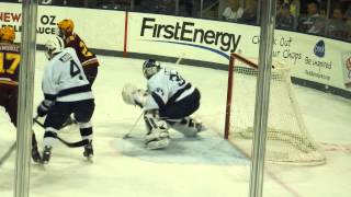 Penn State ice hockey goalie Eamon McAdam game action against Minnesota Gophers