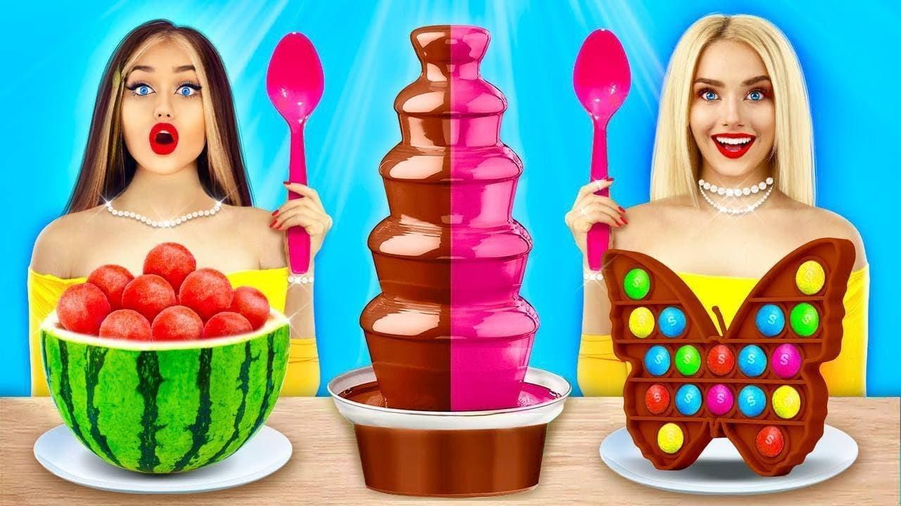 ¡Desafío de la fondue de chocolate!   Come chocolate VS comida real por 24 HRS por RATATA BOOM
