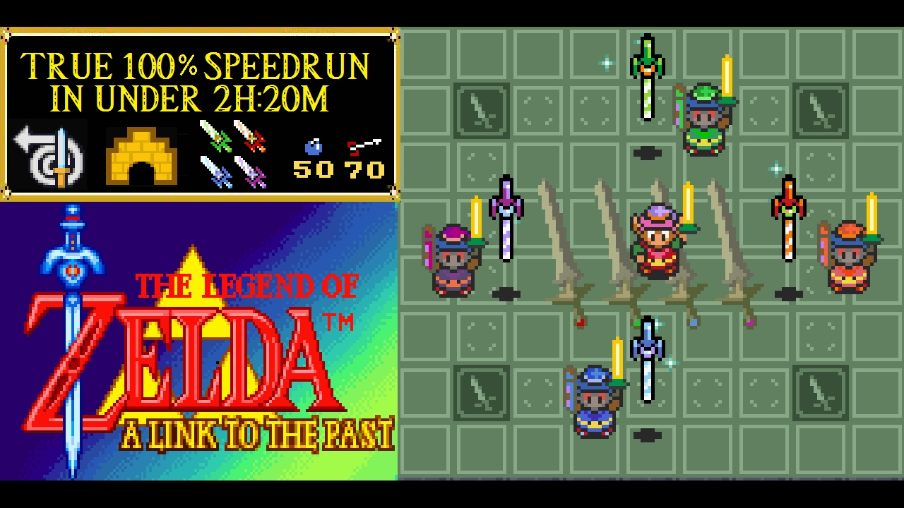 Zelda: A Link to the Past GBA Version True 100% Speedrun attempt in under 2  hours and 20 minutes