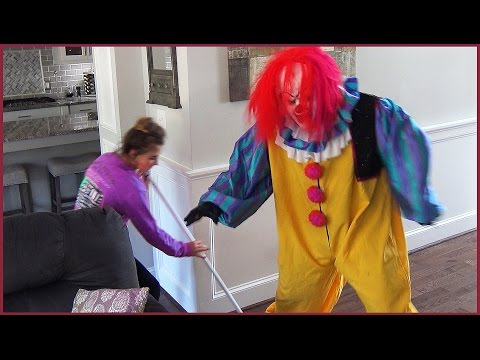 Scary Killer Clown Skates in Our House and Gets Knocked Down By Girl