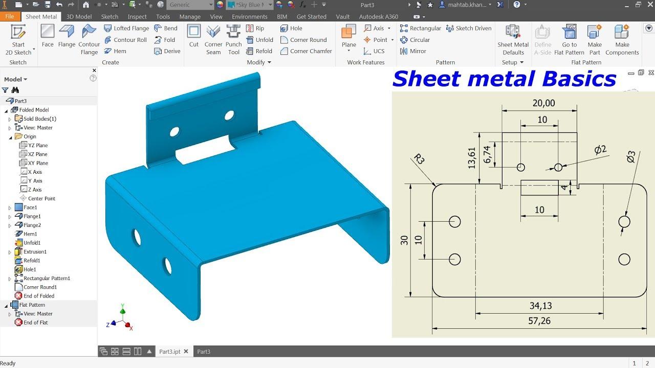 Autodesk Inventor Sheet Metal Tutorial Basics Youtube