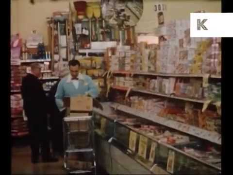 1950s America, Supermarket Food Shopping, Rare Color Home Movie Footage