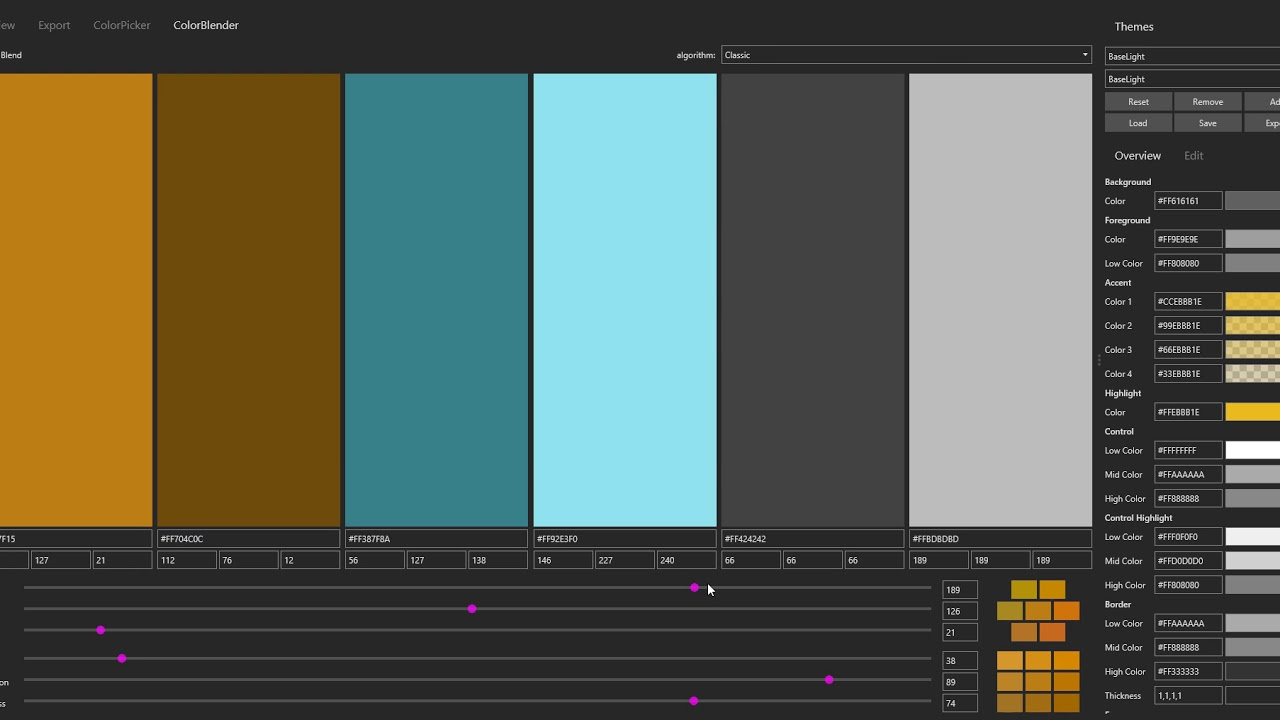 Avalonia Theme Editor - color blender demo (2018-11-05)