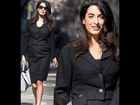 Watch: Pregnant Amal Clooney Shows Baby Bump Heading to UN in New York